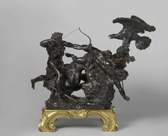 Hercules Freeing Prometheus. François Lespingola. c. 1670. Bronze, h 57.7 cm × w 51.8 cm × d 35.6 cm. Hercules is here shown freeing the chained Prometheus from an eagle that comes to pick his liver each day anew. Jupiter had imposed this punishment on Prometheus for stealing fire from the gods.  -Rijksmuseum Amsterdam-