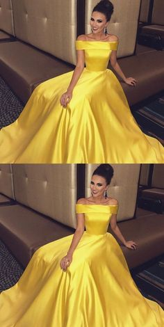 Off The Shoulder Long Satin Gold Prom Dresses Ball Gown,Fashion Cheap Prom Dress