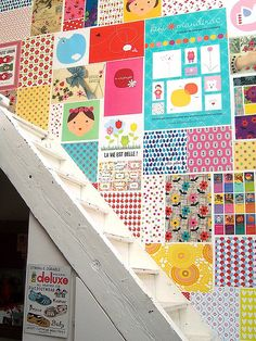 decoupage walls...inside playhouse