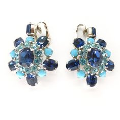 Vintage Mitchel Maer For Christian Dior Blue Paste Statement Earrings | Clarice Jewellery