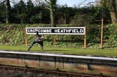 A fabulous Spring Yoga picture taken of Dave Bodenham doing an extended angle pose on the platform at this picturesque somerset railway station-   — at Crowcombe Heathfield Station.  www.bevsfitness.co.uk