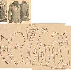 Der Bazar 1889: Greenish-blue cloth jacket; 1. front part, 2. and 3. side gores, 4. back part, 5. button fasteners, 6. collar in half size, 7. and 8. sleeve parts