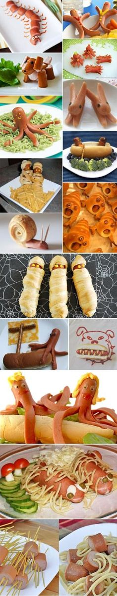 funny-recipes-hot-dogs-sausages-for-kids-children-recetas-divertidas-con-salchichas-para-niños.jpg pixels for health low car use turkey hot dogs Cute Food, Good Food, Yummy Food, Toddler Meals, Kids Meals, Baby Food Recipes, Snack Recipes, Food Decoration, Food Crafts