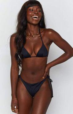 Black Bikini Tops, Black Swimsuit, Matching Outfits Best Friend, African Models, Black Fitness, Push Up Bikini, Sexy Bikini, Dark Skin Beauty, Womens Fashion Stores