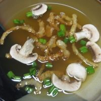Clear Onion Soup (like Japanese steakhouse).  I used this recipe except it needed something: some beef boullion. I used a 1/2 cube to 1c water. Also I think I will use sauteed mushrooms next time. I did cook them in the broth for a while which made em better, but sauteed will be best. Topped with Frech's fried onions instead. Very good!