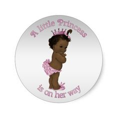 Vintage Ethnic Princess Baby Shower Sticker