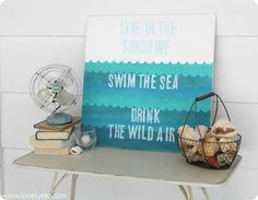Beachy Handpainted Sign for Summer #shapetape @CarrieSpalding