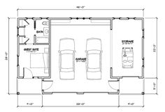 Looking for the best house plans? Check out the Tideland Haven Garage plan from Coastal Living. Garage To Living Space, Garage Guest House, Garage Loft, Dream Garage, Shop House Plans, Best House Plans, Small House Plans, Shop Plans, Garage Floor Plans