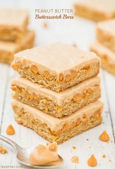 Peanut Butter Butterscotch Bars - Soft, chewy bars loaded with butterscotch! The satiny smooth peanut butter frosting is amazing! via @Averie Sunshine {Averie Cooks}