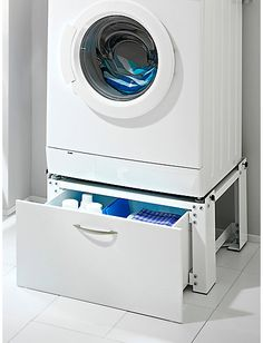 I love the idea of the washer/dryer sitting on drawers. I need the storage. Laundry Supplies, Paint Colors For Living Room, Bath Design, Laundry Room Design, Washing Machine Stand, Closet Decor, Utility Rooms, Bathroom Design, Living Room Designs