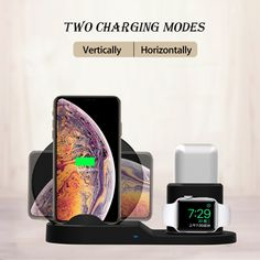 SingDeRing Compatible 3 in 1 Wireless Charger Stand QI Wireless Charging Dock Station Replacement for Apple Watch Series iPhone Xs/XS Plus, AirPods (Black), Apple Watch Accessories, Phone Accessories, Mobile Accessories, Smartwatch, Mobiles, Online Shopping, Airpods Apple, Phone Charger Holder, Phone Stand