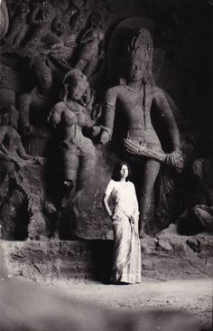 Posing in front of Shiva & Parvati sculptures at Elephant Caves outside Mumbai.