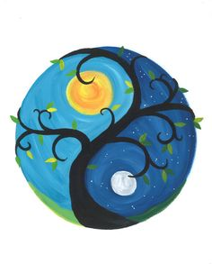 About the painting: This card is reproduced from my original painting, Day Night Yin Yang. This features a curvy tree that creates the diving line of the yin yang. One side is day, and one is night. The leaves are different shades of green, and the sun is a bright mix of orange and yellow. The moon is a moody blend of grey and white.  =====================================================  → Yin Yang Tree Blank Greeting Card  * This card was printed from my original painting. * Comes with a…
