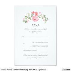 "Floral Pastel Flowers Wedding RSVP Card 3.5"" X 5"" Invitation Card"