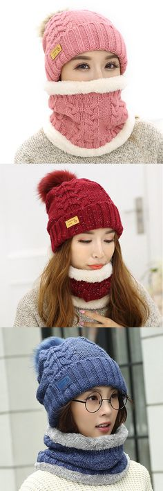 Women Winter Warmer Knitted Hat And Neck Collar Set With Artificial Fur Pompom Flexible Hat