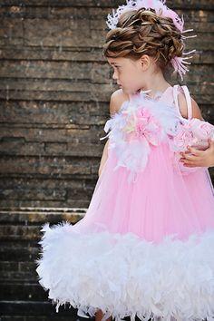 Pink Puffy Feathered  Dress por MelissaJaneBoutique en Etsy