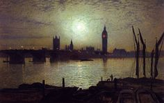 John Atkinson Grimshaw - Westminster Bridge by Moonlight