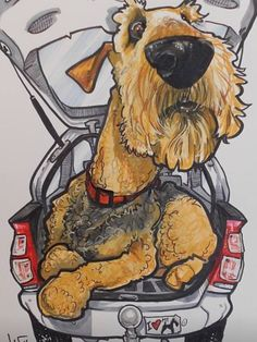 Love this artwork! Irish Terrier, Airedale Terrier, Silly Dogs, Wire Fox Terrier, Art Plastique, Dog Art, Cartoon Art, I Love Dogs, Animals And Pets