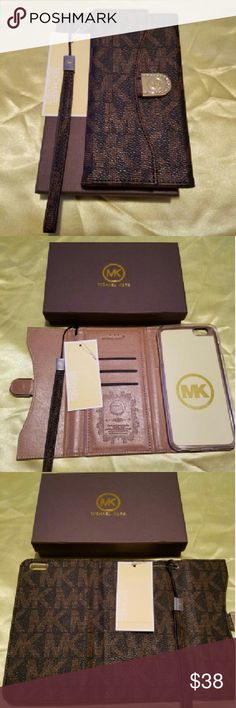 Case wallet iPhone 6 plus  6s plus brown Brand New in rentail packaging this beautiful Wallet case has a slot for your ID cards and a pocket for Cash keeps your Phone safe and allows access to all ports and camera it's in color brown with? wristlet and super cute Michael Kors Accessories Watches