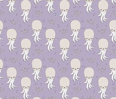 Adorable jelly fish squid baby sea animals ocean dream purple  - surface design by Little Smilemakers on Spoonflower - custom fabric and wallpaper inspiration for kids clothes fun fashion and trendy home decorations.