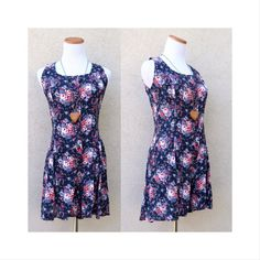 d66b8a7fea 90 s Floral Romper Vintage Rampage Grunge Revival Babydoll 1990 s Playsuit  Onesie Navy Blue Roses Summer Festival Boho Size Small Medium