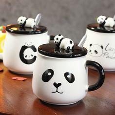 "Lazy Panda"" Cute Ceramic Mug with Lid Spoon Tea Milk Cups Home School Kids Mugcup Drinkware Waterware Ceramic Mug With Lid, Ceramic Mugs, Cartoon Panda, Cute Cartoon, Image Panda, Panda Decorations, Panda Costumes, Panda Wallpapers, Little Panda"