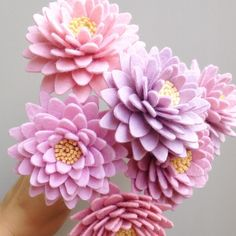 Chrysanthemum flowers made out of felt