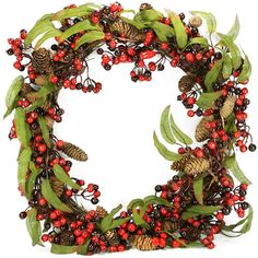 Asstd National Brand 24 Unlit Red and Black Berry and Pine Cone Artificial Christmas Wreath