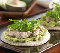 avocado salmon pizzas