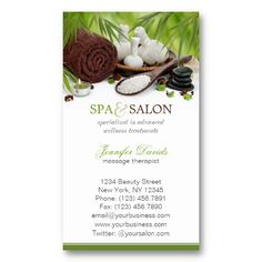 Day spa, massage, Aromatherapy appointment card Business Card ...
