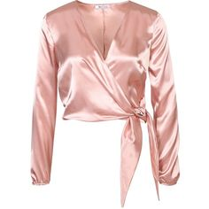 Nly One Satin Wrap Blouse (120 BRL) ❤ liked on Polyvore featuring tops, blouses, shirts, blusas, pink top, short-sleeve blouse, tall shirts, wrap shirts blouses, wrap front blouse and long sleeve shirts