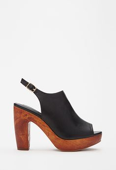 Faux Leather Peep Toe Platforms | FOREVER21 - 2000115579