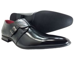 Men's Dress Shoes Single Monk Strap Black Fashion Slip-on Loafer   #FRZ #LoafersSlipOns