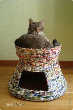 Мастер-класс, Поделка, изделие Плетение: Котькин дом Бумага газетная. Фото 1