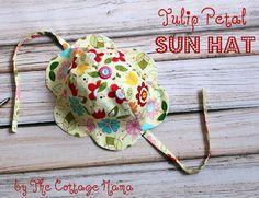 Riley Blake Designs -- Cutting Corners: Tulip Petal Sun Hat ~ Pattern and Tutorial (toddler size.