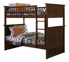 Nantucket Bunk Bed, Twin Over Twin , Antique Walnut -- For more information, visit image link. (This is an affiliate link) #HomeDecoration