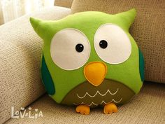 GREEN OWL CUSHION RainbOWL -Decorative plush pillow -