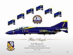 Phantom, The Blue Angels, Blue Angels Planes, Us Navy Blue Angels, Military Jets, Military Aircraft, Fighter Aircraft, Fighter Jets, F4 Phantom, Aircraft Painting, Pilot