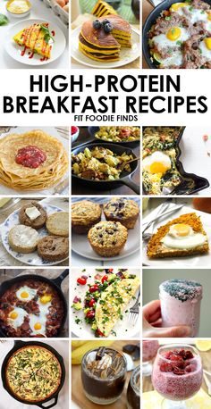 Eat your breakfast and protein too. Here's 15 high protein breakfast recipes from eggs to pancakes to smoothies from my favorite healthy foo. Protein is a healthy and delicious macro ? would try all of these recipes ASAP! Protein Dinner, High Protein Breakfast, High Protein Low Carb, High Protein Recipes, Healthy Breakfast Recipes, Brunch Recipes, Protein Foods, Healthy Muffins, Breakfast Smoothies