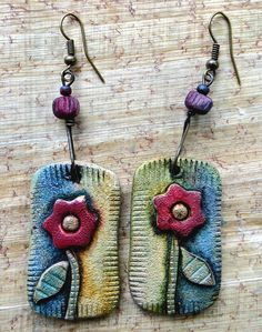 """Like the idea to make shapes to attach to """"tags"""" ☮ American Hippie Bohemian Boho Style ~ Jewelry . Polymer Clay Projects, Polymer Clay Creations, Polymer Clay Earrings, Diy Schmuck, Schmuck Design, Ceramic Jewelry, Ceramic Beads, Jewelry Crafts, Handmade Jewelry"""