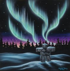 Sky Dance Series of an Inukshuk by Amy Keller-Rempp Art. by acrylic on canvas. Giclee prints and fine art paper cards available. Canadian Wildlife, Aboriginal Artists, Paper Cards, Spirit Animal, Fine Art Paper, Painted Rocks, Giclee Print, Northern Lights, Projects To Try