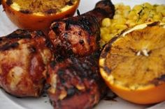BBQ Chicken, corn, and grilled oranges