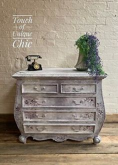 Vintage French Louis Style Chest Of Drawers, Shabby Chic  | eBay