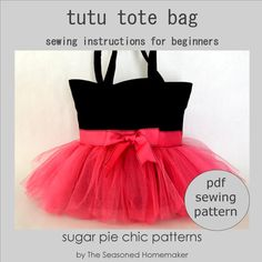 Easy-to-make Tutu Tote Bag - perfect for your little princess! These bags are so versatile that you will be amazed at their many uses. The ideal bag to carry to ballet class. Make bags for birthday gifts or even party favors. The Tutu Tote Bag makes an adorable diaper bag. You will find yourself changing out the color and ribbon choices to make unique bags for different seasons!
