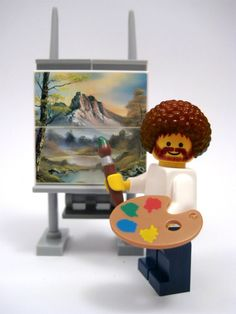 I painted this exact picture using the Bob Ross system Scott got me for Christmas one year!! <3 Bob Ross lego - love.  My Dad was a painter and loved his show :)