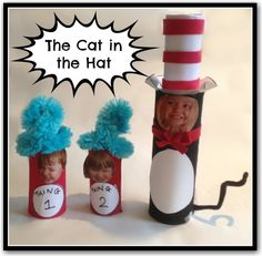 The Cat in the Hat toilet paper roll crafts. These would be perfect for Read Across America week! things could continue with each child's class number. too fun!
