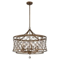 Cast a warm glow in your foyer or den with this classic pendant, featuring a latticed chain shade with crystal accents.  Product: