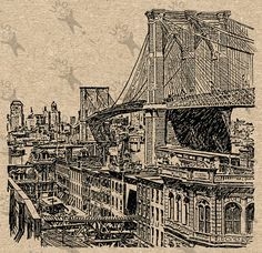 Antique clipart Brooklyn Bridge Printable Digital Vintage Image instant download HQ 300dpi PNG and JPG prints (JPG images are on a white background and