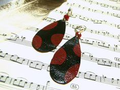 Leather Earrings Upcycled Earrings Black and Red by LunaEssence