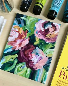 Easy Flower Painting, Acrylic Painting Flowers, Simple Acrylic Paintings, Fruit Painting, Acrylic Painting Tutorials, Abstract Flowers, Acrylic Painting Canvas, Paint Flowers, Flower Paintings